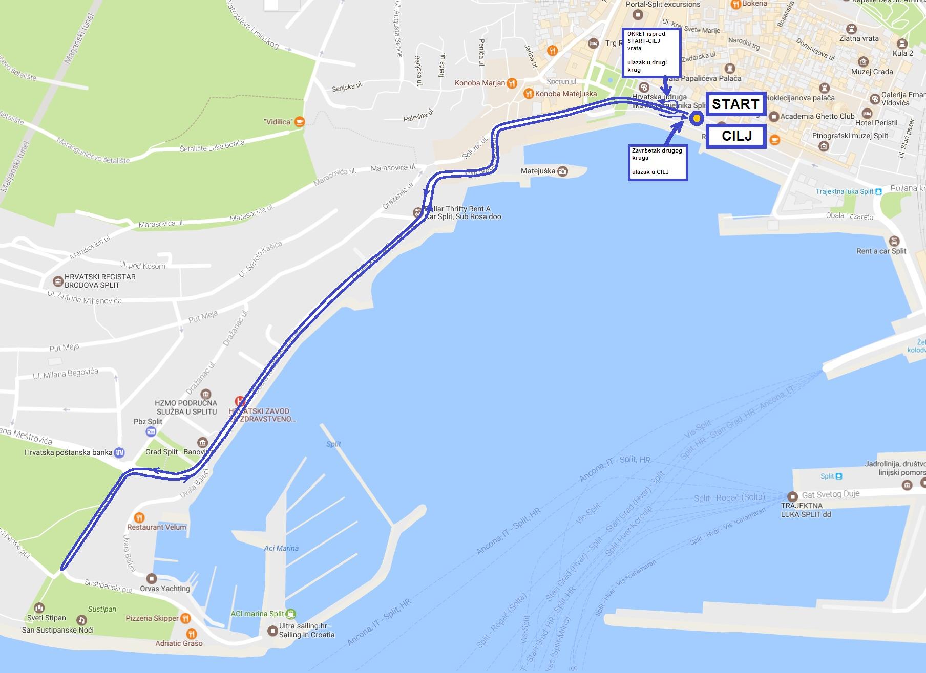 Trasa utrke GLOW RUN SPLIT 2018.